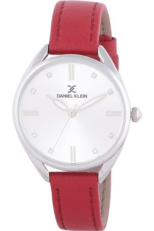 Daniel Klein Women Silver-Toned & Red Analogue Watch DK.1.12371-5
