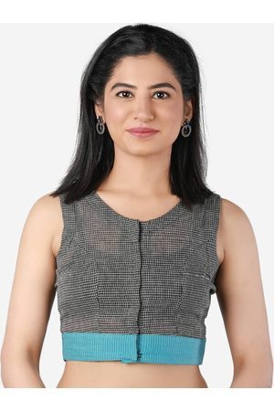 Llajja Women Ethnic Blouses - Women Black & Blue Checked Saree Blouse