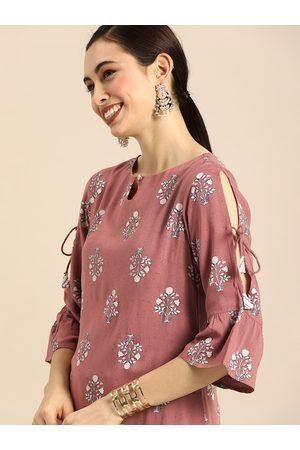Anouk Women Palazzos - Women Pink Printed Kurta with Palazzos