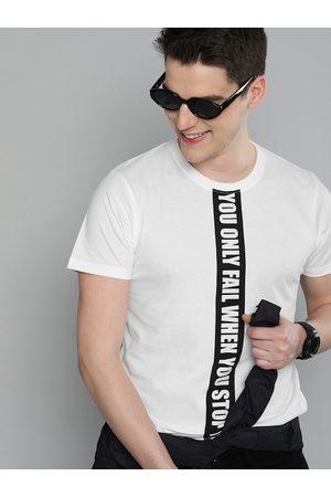 HERE&NOW Men Short Sleeve - Men White Printed Round Neck T-shirt