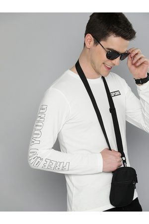 HERE&NOW Men White Solid Round Neck T-shirt with Printed Sleeves