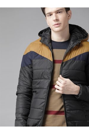 Roadster Men Black & Mustard Yellow Colourblocked Hooded Padded Jacket