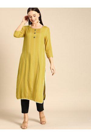 Anouk Women Yellow & White Printed Kurta