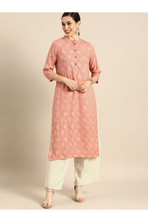 Anouk Women Peach-Coloured & Gold-Toned Foil Printed Kurta with Palazzos