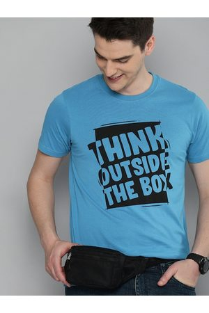 HERE&NOW Men Short Sleeve - Men Blue Printed Round Neck T-shirt