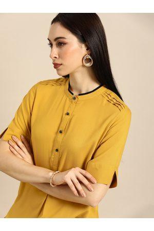 Anouk Women Kurtas - Women Mustard Yellow Solid Straight Kurta with Pin-Tuck Detail