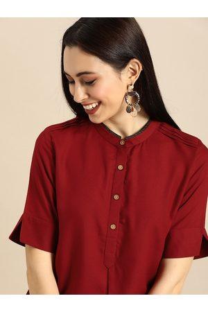 Anouk Women Maroon Solid Straight Kurta with Pin-Tuck Detail