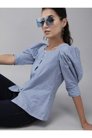 Rare Fashion Navy Blue & White Checked Puff Sleeves Pure Cotton Regular Top