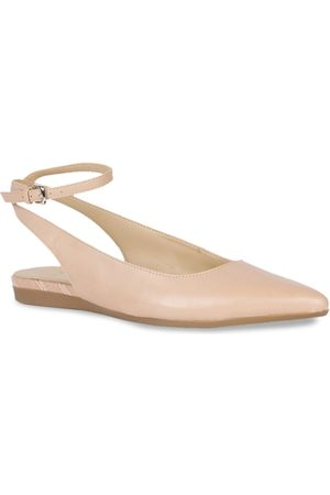 Naturalizer Women Peach-Coloured Solid Leather Ballerinas
