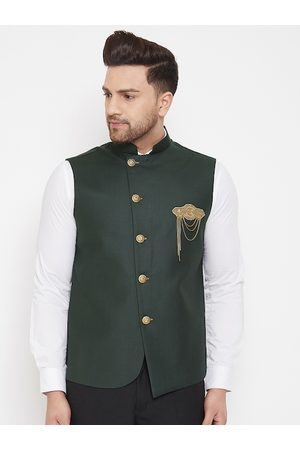 Vastramay Men Jackets - Men's Black Solid Embellished Zardozi Nehru Jacket