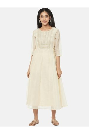 Pantaloons Women Gold-Toned Solid Fit and Flare Dress