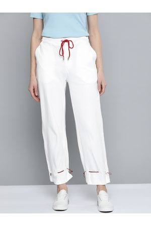 Mast & Harbour Women White Regular Fit Solid Cotton Joggers With Adjustable Hem