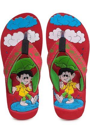 TRASE Unisex Kids Red & Green Printed Thong Flip-Flops