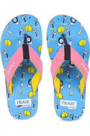 TRASE Unisex Kids Blue & Pink Printed Thong Flip-Flops