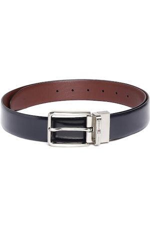 Tommy Hilfiger Men Navy Blue & Burgundy Solid Reversible Leather Belt