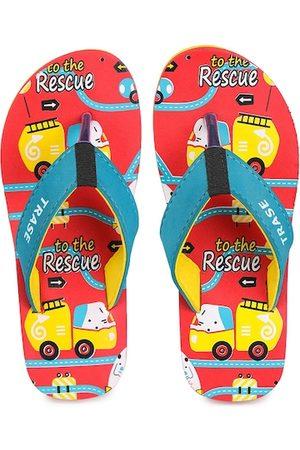 TRASE Unisex Kids Blue & Red Printed Thong Flip-Flops