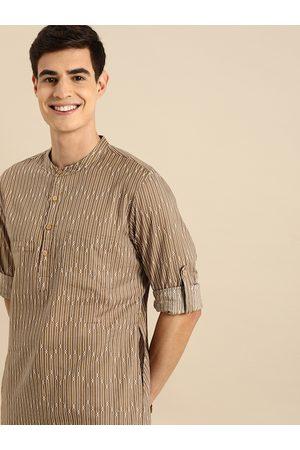 Anouk Men Trousers - Men Brown & White Striped Kurta with Trousers