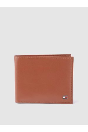 Tommy Hilfiger Men Tan Brown Leather Solid Two Fold Wallet