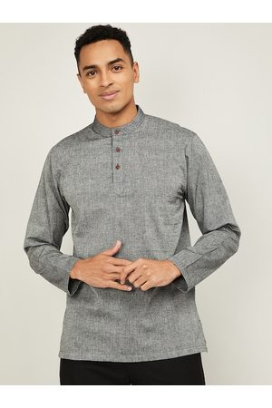 Lifestyle Men Grey Mandarin Collar Woven Design Cotton Kurta
