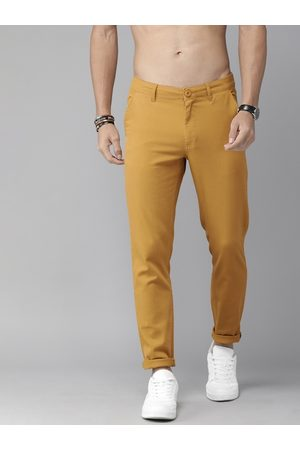 Roadster Men Mustard Yellow Regular Fit Solid Chinos