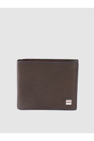 Tommy Hilfiger Men Coffee Brown Solid Leather Two Fold Wallet