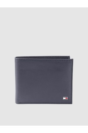 Tommy Hilfiger Men Navy Blue Leather Solid Two Fold Wallet with Detachable Flap
