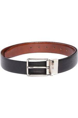 Tommy Hilfiger Men Tan Brown & Black Textured Reversible Leather Belt