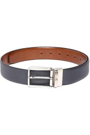Tommy Hilfiger Men Belts - Men Navy Blue & Tan Brown Solid Reversible Leather Belt