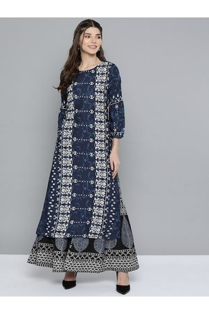 HERE&NOW Women Navy Blue & White Ethnic Motifs Printed Indigo Kurta