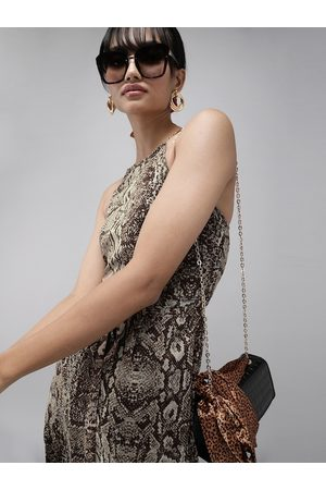 MISH Women Brown Snake Print Fit and Flare Dress