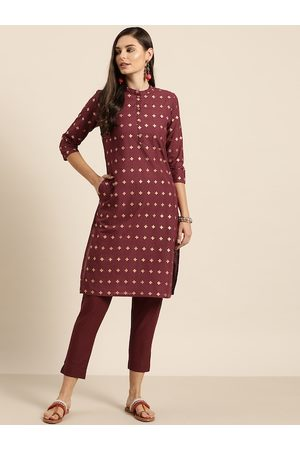 Sangria Women Maroon & Golden Pure Cotton Printed Kurta with Trousers