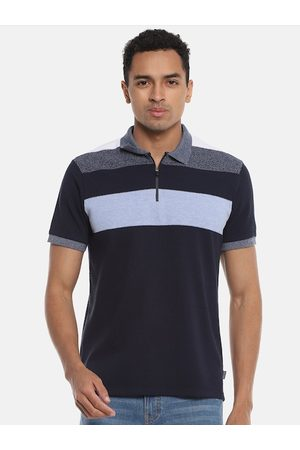 Campus Men Navy Blue Colourblocked High Neck T-shirt