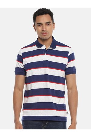 Campus Men Off-White Striped High Neck T-shirt