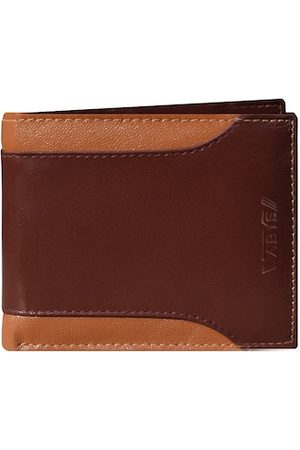 ABYS Men Tan Brown Textured Leather Two Fold Wallet