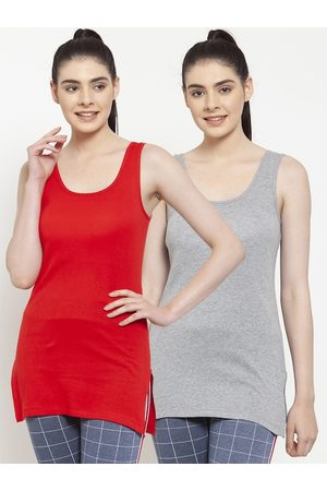 Friskers Women Multicoloured Pack of 2 Solid Tank Top