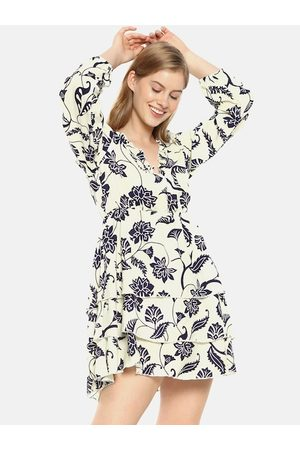 Campus Women Cream-Coloured Printed Fit and Flare Dress