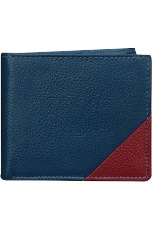 ABYS Men Blue & Maroon Solid Leather Two Fold Wallet