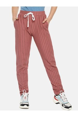 Campus Women Peach-Color & Black Striped Straight-Fit Track Pants
