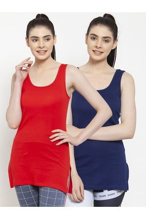 Friskers Women Pack of 2 Red & Navy Blue Organic Cotton Tank Tops