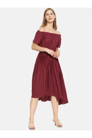 Campus Women Maroon Solid A-Line Dress