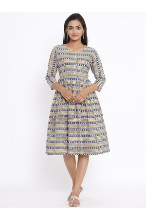 Sangria Women Printed Dresses - Women Blue Printed Fit and Flare Dress