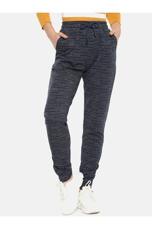 Campus Women Charcoal Grey & White Striped Straight-Fit Track Pants