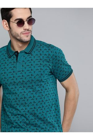 HERE&NOW Men Teal Green & Black Printed Pure Cotton Polo Collar T-shirt