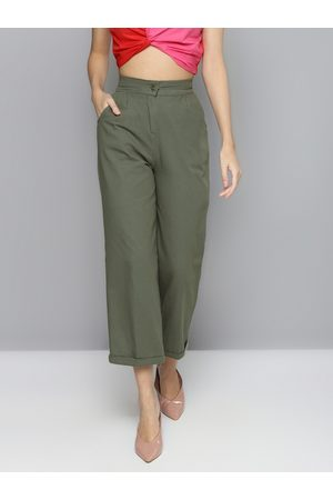 Sassafras Women Olive Green Regular Fit Solid Pure Cotton Straight Trousers