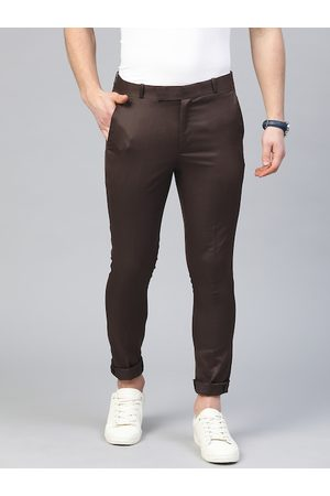 DENNISON Men Coffee Brown Smart Tapered Fit Solid Cropped Chinos