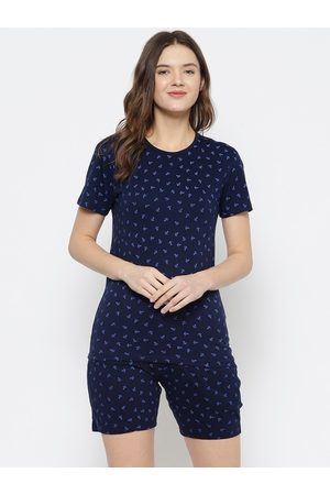 VIMAL JONNEY Women Navy Blue Printed Night suit