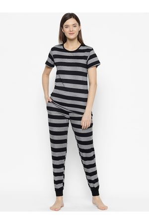 VIMAL JONNEY Women Black & White Striped Night suit