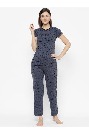 VIMAL JONNEY Women Blue & Black Printed Night suit