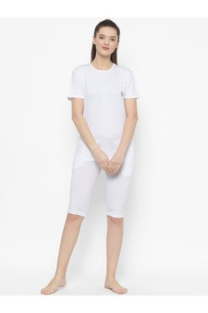 VIMAL JONNEY Women White Solid Night Suit