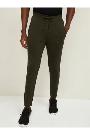 Lifestyle Men Olive Green Solid Cotton Track Pants